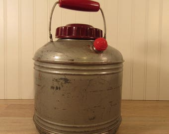 Large vintage metal Thermajug metal thermos with screw top, insulated interior, spout and swing handle