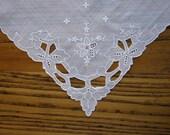 White Floral Handkerchief, Antique Hanky, Wedding Hankie, Ivory Linen Hankie, Cutwork, Handkerchief, Whitework, Vintage Hankie, Floral Hanky