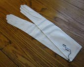 Long White Leather Gloves, Viola Weinberger, Original Tags, Unused, White Leather Opera Gloves, France, Long Leather Gloves, Size 6 1/2, 20""
