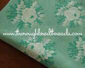 Vintage Green Roses - Vintage Fabric New Old Stock Floral Textured Dimity