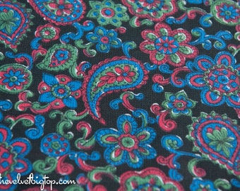 Black  Paisley  - Vintage Fabric 70s New Old Stock