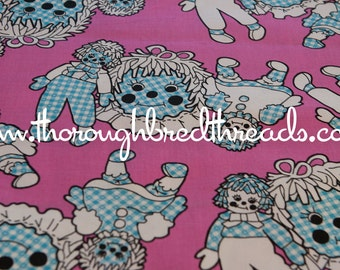 Raggedy Ann & Andy - Vintage Fabric Juvenile Dolls Kids Pink Blue Gingham