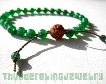Green Jade Wrist Mala Bracelet: Adjustable Knotted Tibetan Buddhist Japa Mala, 27 Hindu Prayer Beads - Heart Chakra, Tranquility, Meditation
