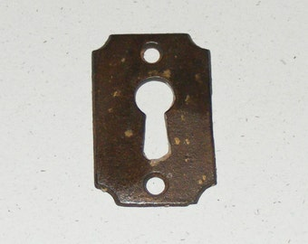 Antique Iron Skeleton Key Keyhole Metal Cover Plate Patina Hardware Escutcheon