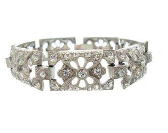 Antique Bracelet, 1920s Art Deco Rhinestone Cuff, Fine Vintage Deco Wedding Jewelry, Vintage Rhinestone Jewellery