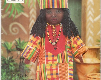 Vogue 9138 513 1990s Linda Carr African Doll and Doll Clothes Pattern 18 Inches with Transfer Designer UNCUT Sewing Pattern