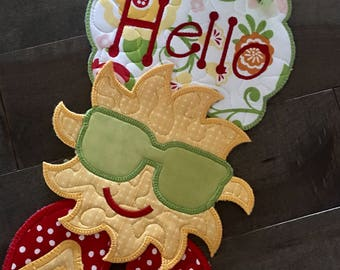HELLO SUMMER Quilted Eall Hanging . . . Bright Sunshine . . . Flip Flops . . .Decorate Your Space