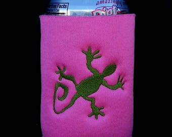 Lizard Gecko Chuckwalla Embroidered in Any Color on Custom Can and Bottle Cooler.  Choose size, font, colors.  All your choice.