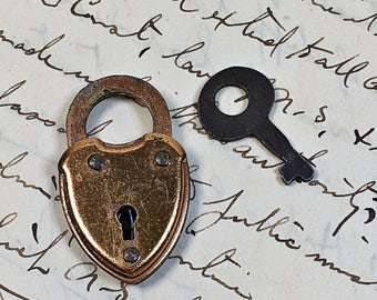 Miniature Vintage heart shaped padlock with key USA Eagle Lock Company Terryville CT