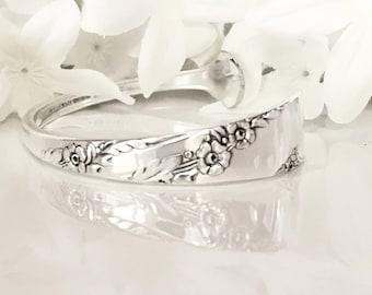 Silver Bracelet Cuff, Silver Cuff Bracelet, Spoon Jewelry, Bracelet Cuff  - 1950 BRIDAL WREATH