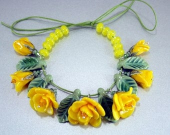 Set of yellow Sculpted Roses With Leaves and Spacers Handmade Lampwork Flower Beads SRA FHF
