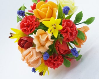 Mixed color of Everlasting Memorable Bouquet, miniature handcrafted flowers