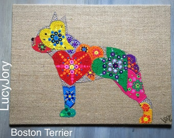 Boston Terrier, Boston Terrier Art, Mandala Art, Boston Terrier Dog, Burlap