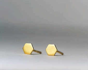 Tiny Hexagon Geometric Earrings 14k solid Gold Jewelry Minimal Dainty gift for her mom girlfriend black friday sale free shipping christmas