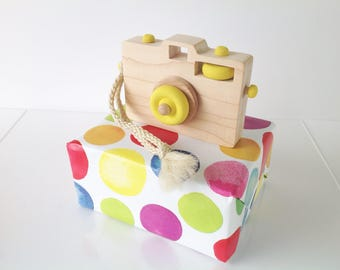 Wooden Toy Camera, Wood Camera, Toddler Toy, Handmade Toy, Baby Gift, Camera Prop, Yellow