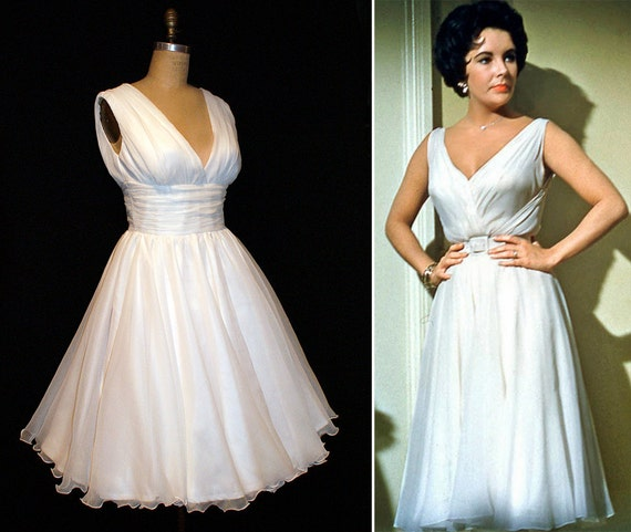 PLUS SZ  Elizabeth Taylor Maggie Dress from Cat on a Hot Tin Roof Wiggle Dress... Bombshell Dress... Old Hollywood...Sheer Elegance...