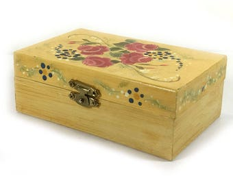 Hand-Painted Wood Box, Pale Yellow with Pink Flowers, Green Leaves, Lily of the Valley, Brass Latch