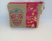 Skull Painted pouch - Organic Cotton - One of  kind - Cosmetic bag - Zip Pouch Skull - Sugar skull - Batik fabric skull pouch