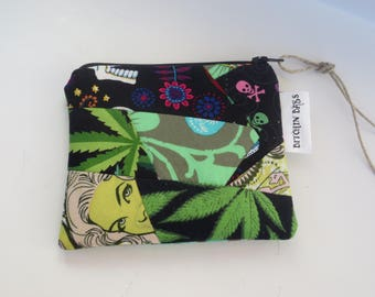 Patchwork Pouch - Quilted Cannabis Pouch - Skull Pouch - One of a kind - Cannabis - Skulls