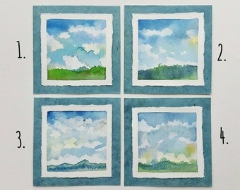"Sky Series 1 - 6"" card w/envelope, original watercolor, frameable art, not a print"