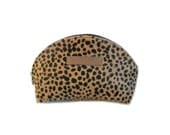 leather pouch leopard hair, print camel brown panther