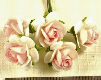 FF-105 Miniature Blush Pink and White Paper Roses