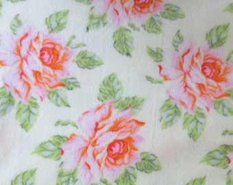Heather Bailey Fleece Hello Roses in Cream from The Nicey Jane Collection 1/2 yard