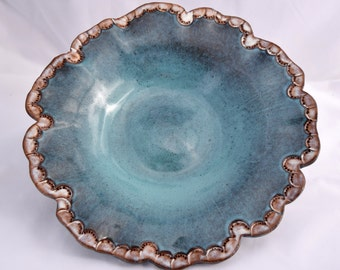 Magnolia Serving Bowl in Turquoise and White - Ceramic Stoneware Pottery