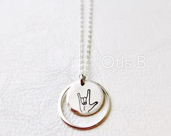 Sign language for I Love You, ASL necklace, ASL gifts, Asl jewelry, sign language charm, friendship necklace, sisters jewelry, love necklace