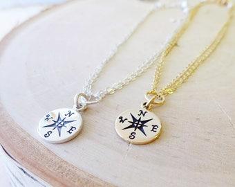 Compass charm bracelet, friendship bracelet, GOLD or SILVER, Bridesmaid gifts, sterling silver compass bracelet, adjustable bracelet,