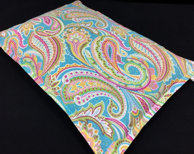 Corn Heating Pad, Large Corn Bag, Microwave Heat Pack, Massage Therapy, Bed Warmer, Heated Bag, Pain Relief, Spring Pastel Paisley