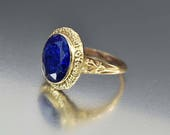 DEPOSIT Gold Sapphire Blue Spinel Ring, 10K Yellow Gold Art Deco Ring, 12K White Gold Ring, Engagement Promise, Natural Blue Gemstone