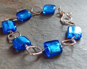 Silver Blue Venetian Glass Bead & Sterling Silver Link Bracelet, bright blue glass, crackle glass bead bracelet, square Italian glass beads