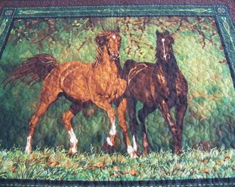 Wall Hanging Quilt Noble Stature Horse Equestrian Handmade Fabric Quilted Wall Art Fiber Art Home Decor Home and Living
