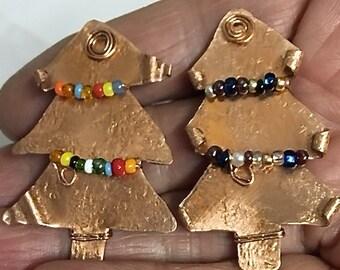 Holiday Pin. Christmas Pin. Copper Tree Xmas Pin. Xmas Brooches.ONSALE.