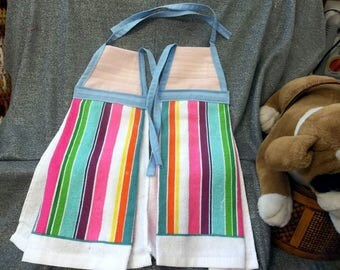 Hanging Kitchen Terry Tie Towels, Pink Light Stripe Print Top