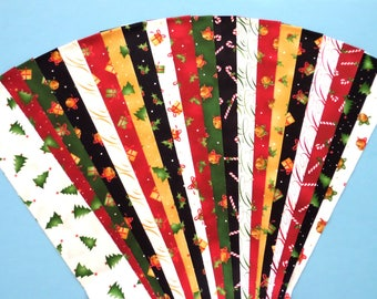 Fabric Christmas Traditional Cotton Jelly Roll Quilting Strip Pack Material Die Cut 20 Strips No Dups (sku JR120-TRXM)