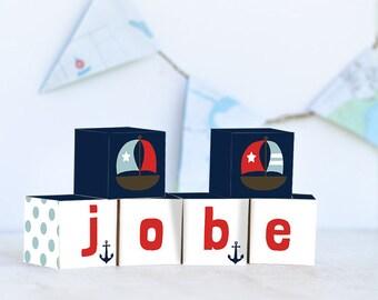 Nuatical Wooden Letter Blocks, Personalized Nursery Blocks Baby Decor Gift