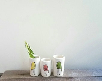 Mini bird vase, set of three, green, yellow and orange bird vases, woodland home decor