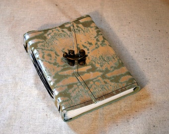 SUMMER SALE:  Medium Metallic Leather Latch Journal with Recycled Paper