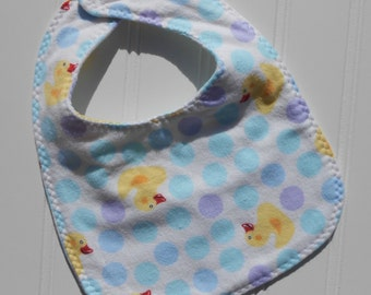 READY TO SHIP 100% cotton flannel baby bib - blue ducks / rubber duckies