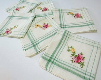 Set of 6 Vintage Luncheon Napkins, Off-White with Green Lines and Pink and Yellow Embroidered Flowers
