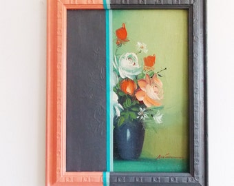 SPECIAL OFFER-paint dipped Antique Contemporary art painting / floral romantic modern painting / upcycled signed wall art