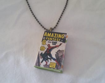 Mini Spiderman Comic Book Pendant