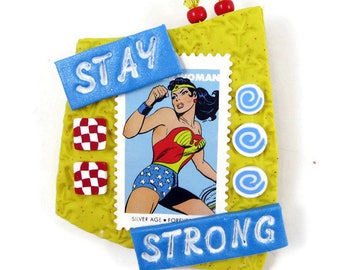 Stay Strong Wonder Woman Pin Handmade Brooch Inspirational Jewelry Comics US Postage Stamp Collecting Handmade Art Jewelry Retro Jewelry