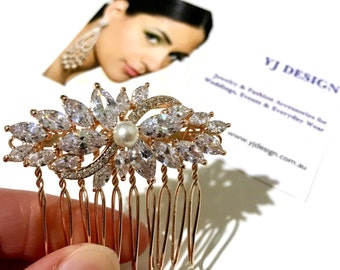 Rose Gold Wedding Hair Comb, Vines Bridal Hair Comb, Leaves Bridal Headpiece, Crystal Pearl Wedding Headpiece, Cz Bridal Hair Vine, SANGRIYA