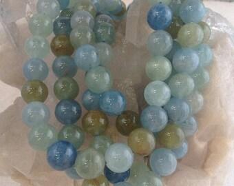 50% Mega Sale 10mm Aquamarine Multitone Round Beads