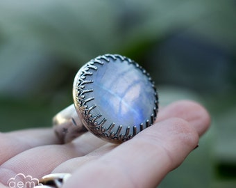 Moonstone  bohemian statement ring in sterling silver - Albionia -