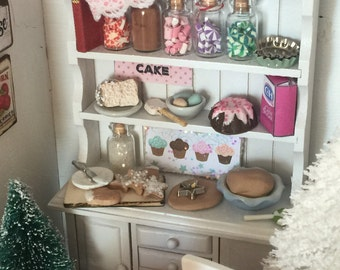 Miniature Dollhouse Holiday Baking Cupboard - 1:12 scale