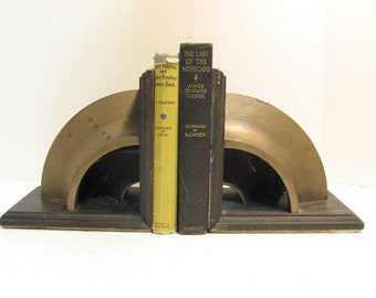 Vintage Industrial Gear Bookends Folkart Cut Pulley Mid Century Bookends